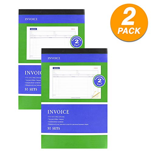 2-Part Carbonless Invoice Book Cash or Rent Receipt General Purpose Sales Money Book White Pages Contractor's Invoice Proposal Form Book Sales Tickets (Pack of 2) by - Emraw ()
