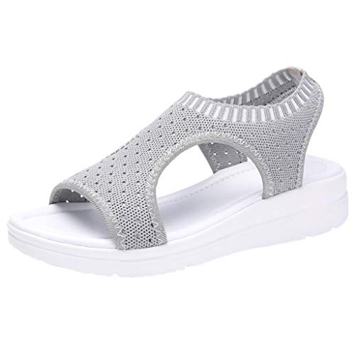 Sunhusing Ladies Open Toe Fish Mouth Breathable Wedge Woven Casual Sandals High Waterproof Platform Beach Shoes Gray (Best Discount On Branded Shoes)