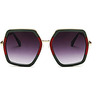 Hukai 2018 New Colorful Polygon Large Frame Sunglasses Protection Goggles Outdoor Glasses (A)