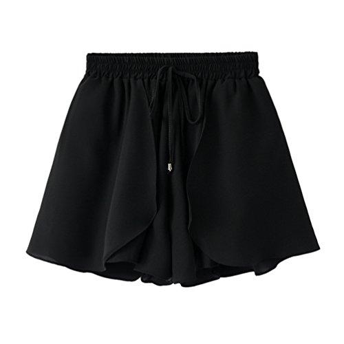 Plage Yiiquanan Taille Pliss Femme Shorts Mini Noir Mousseline Jupe de Jupes Casual Haute Conception Simple Culotte rAr6f