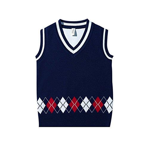 AIKSSOO Little Boys Sweater Vest Argyle V Neck Sleeveless Knit School Waistcoat Size 5-6T (Dark Blue)