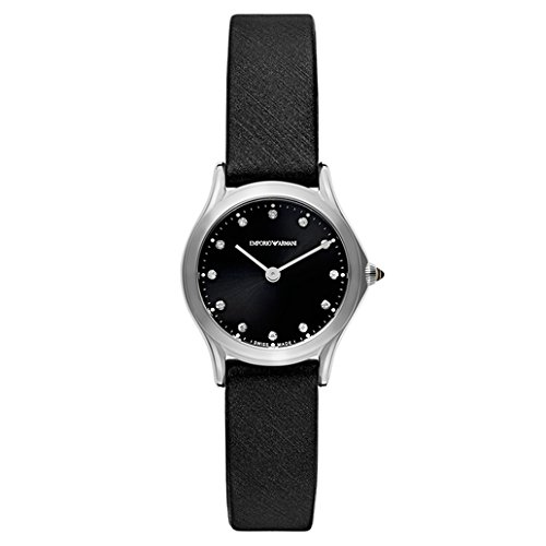 Emporio Armani Swiss Made Women's Swiss Quartz Stainless Steel and Satin Dress Watch, Color:Black (Model: ARS7600)