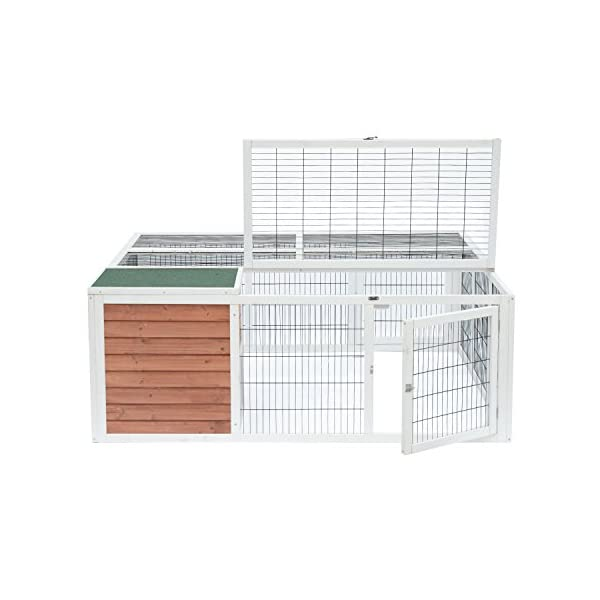 "PawHut 64"" Wooden Outdoor Rabbit Hutch Playpen with Run and Enclosed Cover 4"