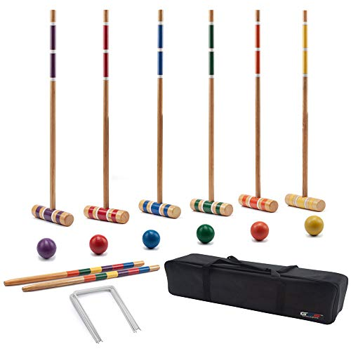GSE Games & Sports Expert Premium 6-Player Croquet Set for Adults & Kids (Several Styles Available) (Classic) (Croquet Game)