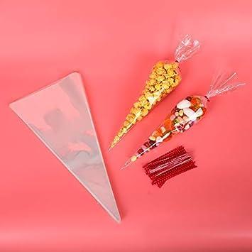100PCS Bolsas de Cono Transparentes+100pcs Precintos Metálicos de Punto,lzhoo bolsa Cono para el envasado de dulces, galletas, nueces etc