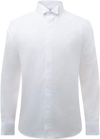 Dobell Camisa de Vestir con Delantera Lisa Cuello Punta de ala: Amazon.es: Ropa y accesorios