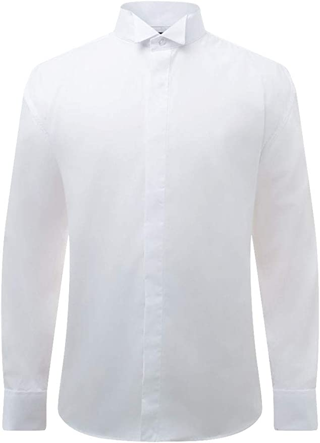 1920s Men's Fashion UK | Peaky Blinders Clothing Dobell Mens White Tuxedo Dress Shirt Regular Fit Wing Collar Double Cuff Plain Fly Front £19.99 AT vintagedancer.com