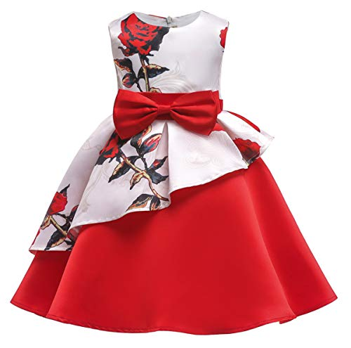 AYOMIS Litter Big Girl Flower Dress Princess Bow Party Wedding Tutu Gowns(Flower-Red,8-9Y)