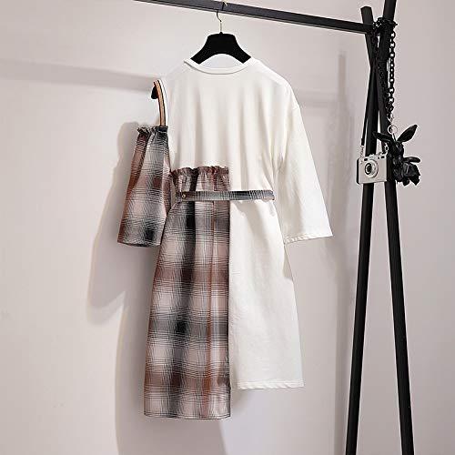 Cintura Primavera Alta Irregular Vestido m Línea Elástica Moda Para Cuadros Una De Otoño Falda Gzz Mujer nXWqPUU