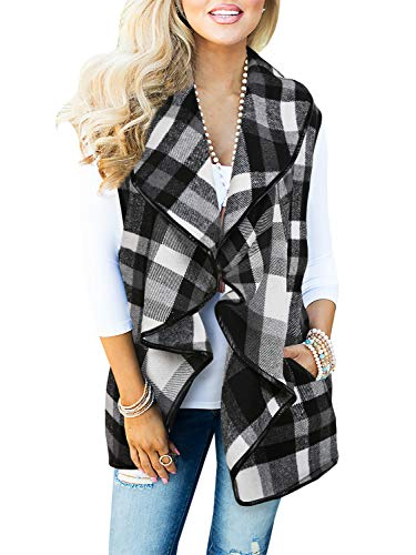Geckatte Womens Sleeveless Plaid Vest Lapel Cardigan Open Front Jacket with Pockets