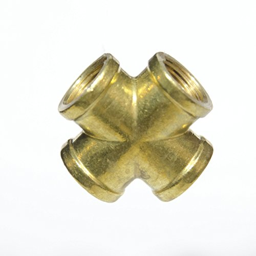 Fasparts 3 8  Npt Female   Fpt X 4 Way Cross Intersection Brass Fitting Fuel   Air   Water   Boat   Gas   Oil Wog
