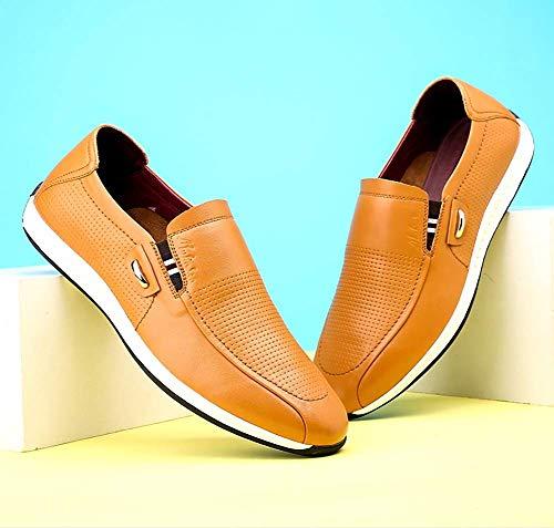 Hombres Negro para Tamaño Verano del de HhGold el Yellow cómodos Ocasionales 9 Redonda UK los resbalón Brown para US Cabeza Color Mocasines de Zapatos 8 Hombres de Cuero R1qxaxU6