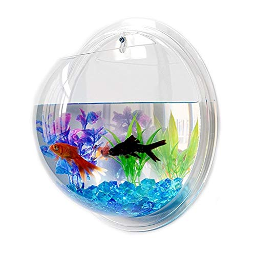 BEITAI Acrylic Fish Bowl Wall Hanging Aquarium Tank Aquatic Pet Supplies Pet Products Wall Mount Fish Tank for Betta Fish (Color : Mirror Back, Size : - 23 Cm Soup