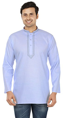 Cotton Mens Short Kurta Shirt Embroidered Dress India Fashion Clothing (Blue, L) by Maple Clothing