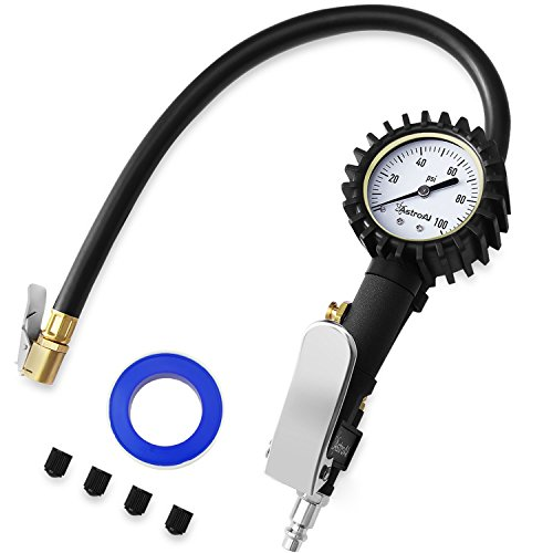 AstroAI Tire Inflator with Pressure Gauge, 100 PSI Air Chuck Compressor Accessories Mechanical Heavy Duty with Rubber Hose and Quick Connect Coupler by AstroAI
