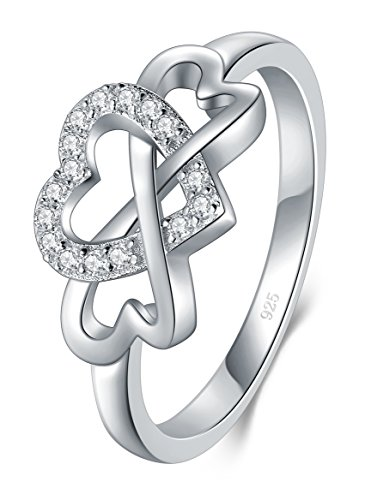 BORUO 925 Sterling Silver Ring, High Polish Cubic Zirconia Infinity and Heart Tarnish Resistant Comfort Fit Ring Size (10 Stone Ring)