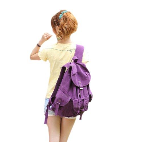 Zicac colar mochila de lona mochila de hombro mochila de mujer mochila escolar adolescente (violeta)