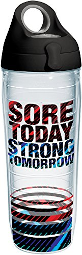 (Tervis 1204577 Sore Today Strong Tomorrow Tumbler with Wrap and Black with Gray Lid 24oz Water Bottle, Clear)