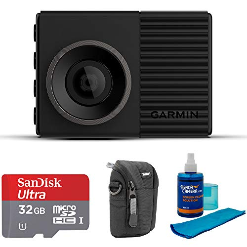 (Garmin Dash Cam 46 1080p with 140-Degree Field of View (010-02231-00) with Universal Screen Cleaner for LED TVs, Point and Shoot Case & Sandisk Ultra microSDHC 32GB UHS Class 10 Memory Card)