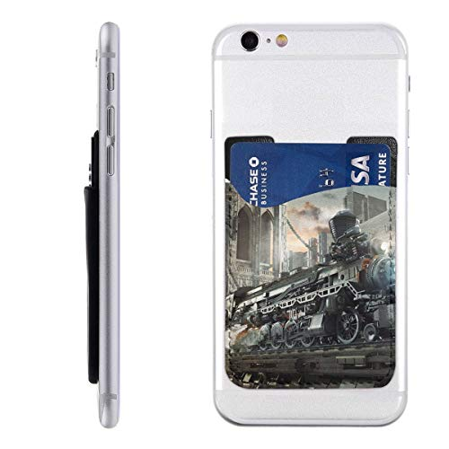 Shoujikao Steampunk Railway Train PU Leather Cell Phone Wallet/Pocket/Card Holder Game Mobile Phone Card Package 3M Adhesive Ultra Slim Back Phone Pocket for Most Smartphones