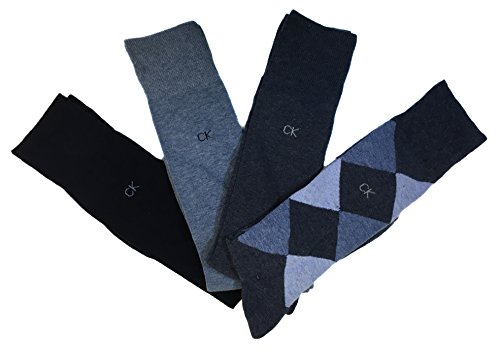 Calvin Klein Men's Argyle Crew Socks- 4 Pack (Denim Heather ()