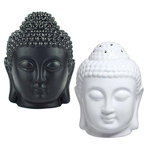 Head Ceramic Statue Buddha (Moylor Buddha Head Statue Oil Burner Translucent Ceramic Aromatherapy Diffusers for and Home Decor (White & Black))