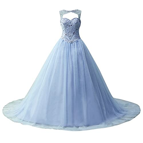 JAEDEN Ball Gown Quinceanera Dresses Beading Tulle Long Prom Dress Gown Blue US4