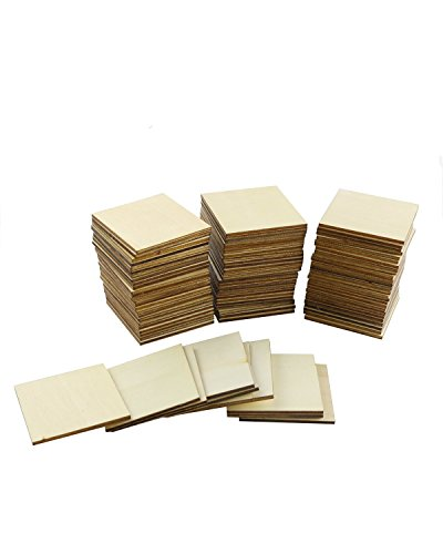 Twdrer 100PCS Unfinished Blank Wood Squares, Wood Pieces Cutouts for DIY Arts Crafts, Handmade Wedding Ornaments, Centerpieces, Board Game Pieces, Ornaments for Book Signing.(5cm)