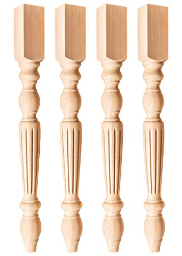 Alder Wood Narrow Traditional Dining Table Leg (Set of 4)