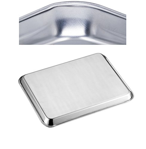 Neeshow Stainless Steel Compact Toaster Oven Pan Tray Ovenware Professional, 12.5'' x 9.75'' x 1'' , Heavy Duty & Healthy, Deep Edge, Superior Mirror Finish, Dishwasher Safe by NEESHOW (Image #2)