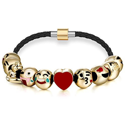 Expression Jewelry Emoticon Charms Bracelet 18K Gold Plated With 10 Pieces of Interchangeable Enamel Smiley Faces Black Leather Bracelet #4 (Heart Shaped Bracelet Slide)