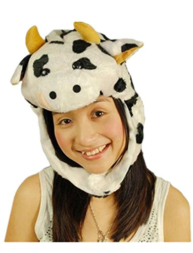 [Funny Short Plush Multicolor Halloween Festival Party Creative Stereoscopic Forest Steppe Animals Mardi Gras Party Costume Hat (Dairy] (Creative Cow Costumes)