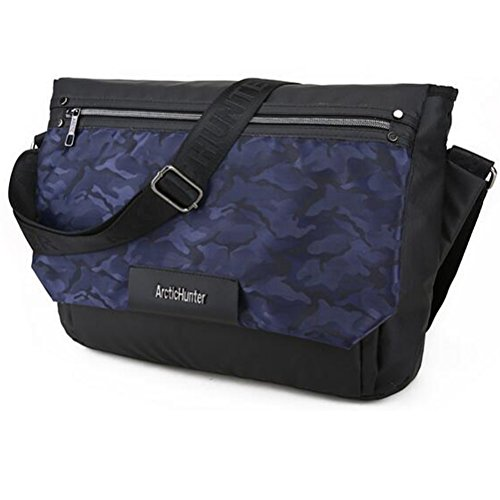 Impermeable Bolsa de Mensajero Para Hombre Cruzada Cuerpo Hombro Bolsa portátil de ordenador Camouflage Azul