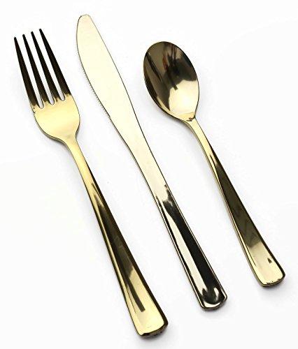 MOZAIK Set de 18 piezas de cubertería de plástico en color dorado metálico (6 tenedores, 6 cuchillos, 6 cucharillas de postre): Amazon.es: Hogar