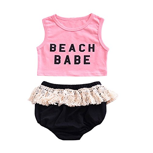 OUTGLE Baby Girl Summer Outfits Set Pink Crop Top + Tassel Shorts Clothing Set Le Top Bloomers