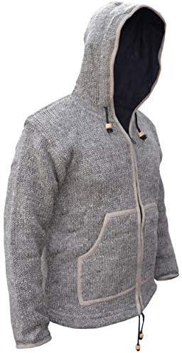 Gheri Pull à capuche en laine naturelle tricotée à la main -  Marron - Small