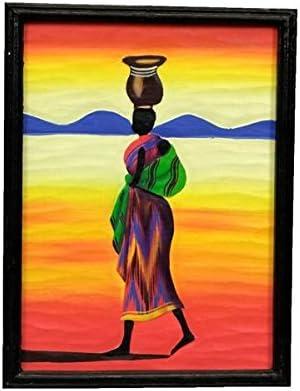 Tableau Africain Colore 40 X 30 Cm Amazon Fr Cuisine Maison