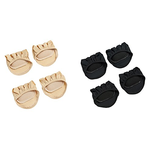 Price comparison product image LOHOME® Forefoot Pads, Women's High-heeled Fore Foot Cushion Sole Protectors Toe Caps Covers Pads Toe Separating Socks (2 Pairs Black + 2 Pairs Skin)