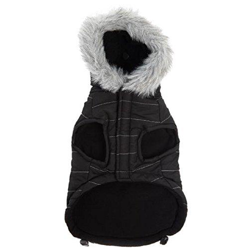(Top Paw Dog Pet Black w/ Grey Furry Trim