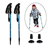 YOURJOY 2 Pack Kids Telescopic Trekking Pole Ultralight Walking Stick for Children Adjustable Travel Camping Hiking Pole in Pink Blue Green