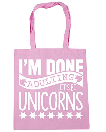 HippoWarehouse I'm Done Adulting Let's Be Unicorns Tote Shopping Gym Beach Bag 42cm x38cm, 10 litres Classic Pink