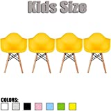 2xhome - Set of Four (4) - Yellow - Kids Size Eames Armchairs Eames Chairs Yellow Seat Natural Wood Wooden Legs Eiffel Childrens Room Chairs Molded Plastic Seat Dowel Leg