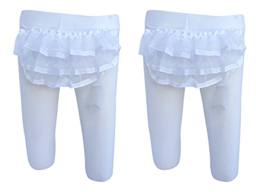 Trimfit Baby Girls Sheer Ribbon Rhumba Tights 2-Pack White 0-6 months