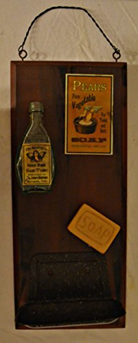 Wood Plaque Sign Decoration with a Metal Wire for Hanging 17 x 7 1/2 x 5 Inches. Wooden Sign with Decoration Soap Holder, Wooden Bar of Soap, Bottle of Dr. Master