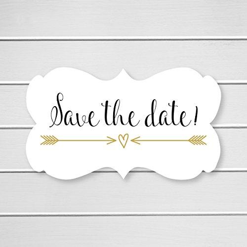 36- Save The Date Wedding Envelope Seals (#366) (Gold/Black) Date Envelope