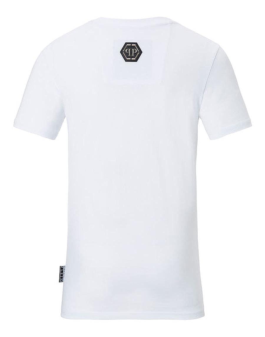 388c5a884bd Philipp Plein T-Shirt Round Neck SS MONOPOLI AL White (XXXLarge)   Amazon.co.uk  Clothing