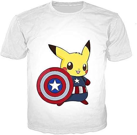 Camiseta Pokemon Pikachu Capitán América Marvel Unisex Streetwear Harajuku Kawaii Algodón (M): Amazon.es: Ropa y accesorios