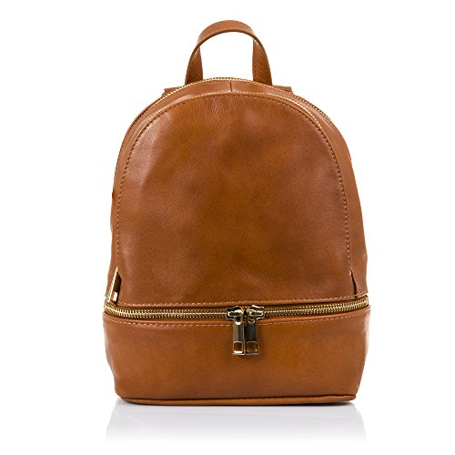 FIRENZE ARTEGIANI.Mochila de mujer casual piel auténtica.Bolso mochila cuero genuino piel Savage tacto suave.DAY PACK. MADE IN ITALY. VERA PELLE ITALIANA. 19x24x10 cm. Color MARRON Leather