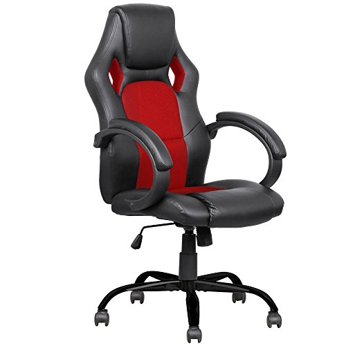 - Yaheetech Faux Leather Red Executive Home/Office Racing Style Bucket Desk Seat Chair