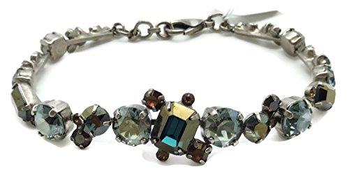 Sorrelli Blue Brocade Round & Rectangle mix Antique Silvertone Crystal Bracelet ()